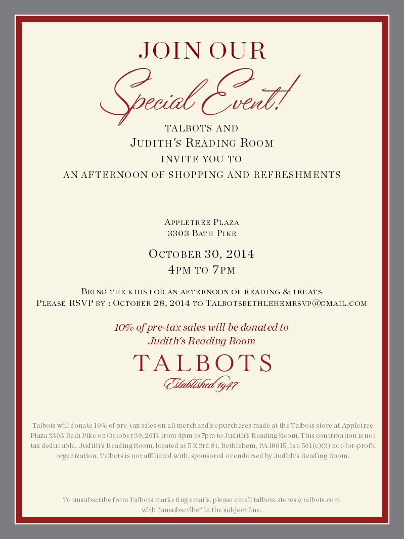 Special Event at Talbots!  October 30th 2014